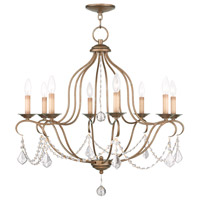 Livex 6427-48 Chesterfield 8 Light 28 inch Antique Gold Leaf Chandelier Ceiling Light