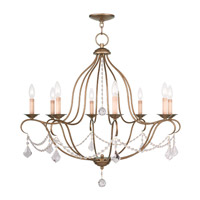 Livex 6428-48 Chesterfield 8 Light 32 inch Antique Gold Leaf Chandelier Ceiling Light