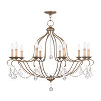 Livex Lighting Chesterfield 10 Light Chandelier in Antique Gold Leaf 6430-48