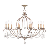 Livex Lighting Chesterfield 10 Light Chandelier in Antique Silver Leaf 6430-73