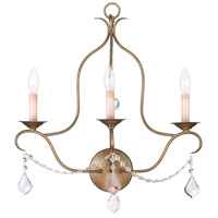 Livex 6433-48 Chesterfield 3 Light 20 inch Antique Gold Leaf Wall Sconce Wall Light