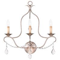 Livex Lighting Chesterfield 3 Light Wall Sconce in Antique Silver Leaf 6433-73