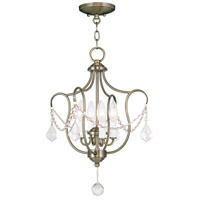 Livex Lighting Chesterfield 4 Light Pendant/Ceiling Mount in Antique Brass 6434-01