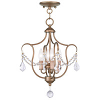 Livex Lighting Chesterfield 4 Light Pendant/Ceiling Mount in Antique Gold Leaf 6434-48