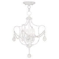 Livex Lighting Chesterfield 4 Light Pendant/Ceiling Mount in Antique White 6434-60