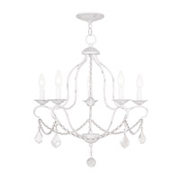Livex Lighting Chesterfield 5 Light Chandelier in Antique White 6435-60