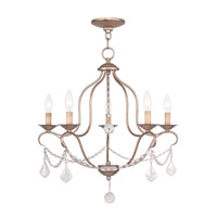 Livex 6435-73 Chesterfield 5 Light 22 inch Antique Silver Leaf Chandelier Ceiling Light