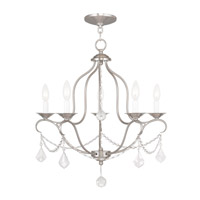 Livex 6435-91 Chesterfield 5 Light 22 inch Brushed Nickel Chandelier Ceiling Light