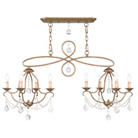 Livex 6437-48 Chesterfield 8 Light 43 inch Antique Gold Leaf Island/Chandelier Ceiling Light