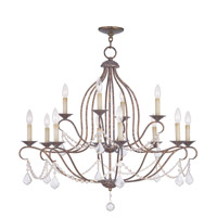 Livex Lighting 6438-71 Chesterfield 12 Light 34 inch Hand Applied Venetian Golden Bronze Chandelier Ceiling Light