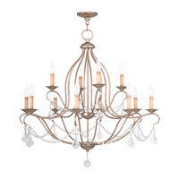 Livex Lighting Chesterfield 12 Light Chandelier in Antique Silver Leaf 6438-73