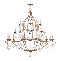 Livex Lighting 6439-48 Chesterfield 20 Light 46 inch Antique Gold Leaf Chandelier Ceiling Light