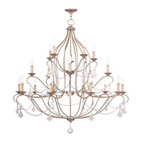 Livex 6439-73 Chesterfield 20 Light 46 inch Antique Silver Leaf Chandelier Ceiling Light