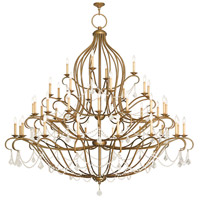 Livex 6457-48 Chesterfield 44 Light 80 inch Hand Painted Antique Gold Leaf Chandelier Ceiling Light