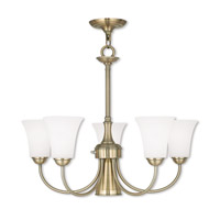 Livex 6465-01 Ridgedale 6 Light 26 inch Antique Brass Dinette Chandelier Ceiling Light