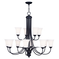Livex Lighting Ridgedale 12 Light Chandelier in Black 6477-04