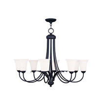 Livex Lighting Ridgedale 8 Light Chandelier in Black 6478-04