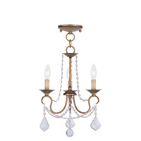Livex Lighting Pennington 3 Light Pendant/Ceiling Mount in Antique Gold Leaf 6513-48