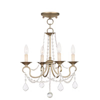 Livex Lighting 6514-73 Pennington 4 Light 18 inch Hand Painted Antique Silver Leaf Convertible Mini Chandelier/Ceiling Mount Ceiling Light