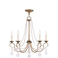 Livex 6515-48 Pennington 5 Light 25 inch Antique Gold Leaf Chandelier Ceiling Light