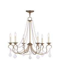 Pennington 6 Light 28 inch Antique Gold Leaf Chandelier Ceiling Light