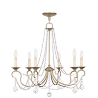 Livex 6516-73 Pennington 6 Light 28 inch Antique Silver Leaf Chandelier Ceiling Light