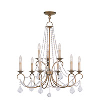 Pennington 9 Light 28 inch Antique Gold Leaf Chandelier Ceiling Light