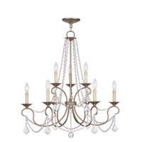 Livex 6519-73 Pennington 9 Light 28 inch Hand Painted Antique Silver Leaf Chandelier Ceiling Light