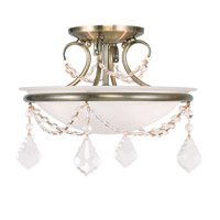 Livex Lighting Chesterfield and Pennington 2 Light Ceiling Mount in Antique Brass 6523-01