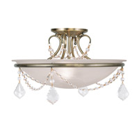 Livex Lighting Chesterfield/Pennington 3 Light Ceiling Mount in Antique Brass 6524-01