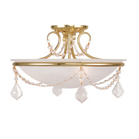 Livex Lighting Chesterfield and Pennington 3 Light Ceiling Mount in Polished Brass 6524-02