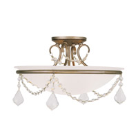 Livex Lighting 6524-73 Chesterfield/Pennington 3 Light 16 inch Hand Painted Antique Silver Leaf Ceiling Mount Ceiling Light