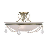 Livex Lighting Chesterfield and Pennington 3 Light Ceiling Mount in Antique Brass 6525-01