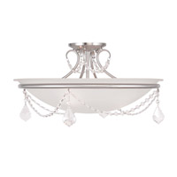 Livex Lighting Chesterfield and Pennington 3 Light Ceiling Mount in Brushed Nickel 6525-91