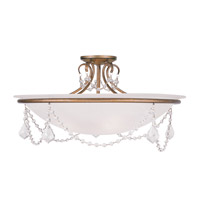 Livex 6526-48 Chesterfield and Pennington 4 Light 24 inch Antique Gold Leaf Ceiling Mount Ceiling Light