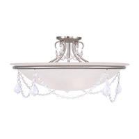 Livex Lighting Chesterfield and Pennington 4 Light Ceiling Mount in Brushed Nickel 6526-91