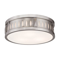 Vista 3 Light 14 inch Brushed Nickel Flush Mount Ceiling Light