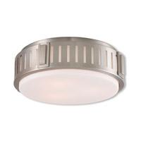 Livex 65513-91 Portland 3 Light 15 inch Brushed Nickel Flush Mount Ceiling Light