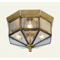Livex Home Basics - 3 Light Flush Mount in Antique Brass 7012-01