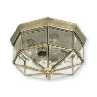 Limited 4 Light 11 inch Antique Brass Flush Mount Ceiling Light