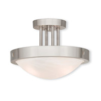 Livex 73955-91 New Brighton 2 Light 12 inch Brushed Nickel Flush Mount Ceiling Light