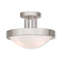 Livex 73955-91 New Brighton 2 Light 12 inch Brushed Nickel Flush Mount Ceiling Light
