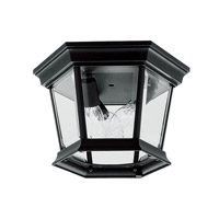 Hamilton 3 Light 11 inch Black Outdoor Ceiling Mount in Clear Beveled