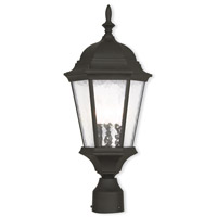 Livex 75468-14 Hamilton 3 Light 10 inch Textured Black Outdoor Post-Top Lantern