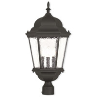 Livex 75474-14 Hamilton 3 Light 13 inch Textured Black Outdoor Post-Top Lantern
