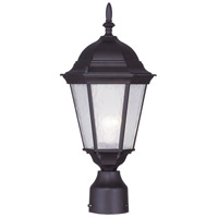 Livex 7558-07 Hamilton 1 Light 18 inch Bronze Outdoor Post Head in Clear Water