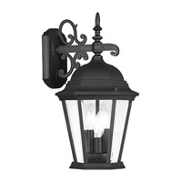 Hamilton 3 Light 19 inch Black Outdoor Wall Lantern in Clear Beveled