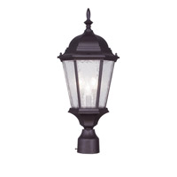 Livex 7563-07 Hamilton 3 Light 21 inch Bronze Outdoor Post Head in Clear Water