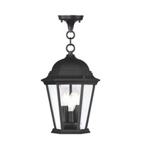 Livex 7564-04 Hamilton 3 Light 10 inch Black Outdoor Hanging Lantern in Clear Beveled