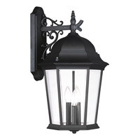 Hamilton 3 Light 23 inch Black Outdoor Wall Lantern in Clear Beveled